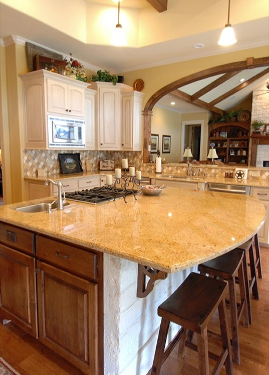 Natural stone kitchen countertops granite kitchen counters for Kitchen designs in kashmir