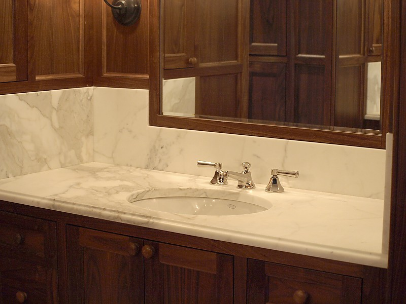 natural stone countertops tile backsplashes for your bath - Tile Bathroom Countertop